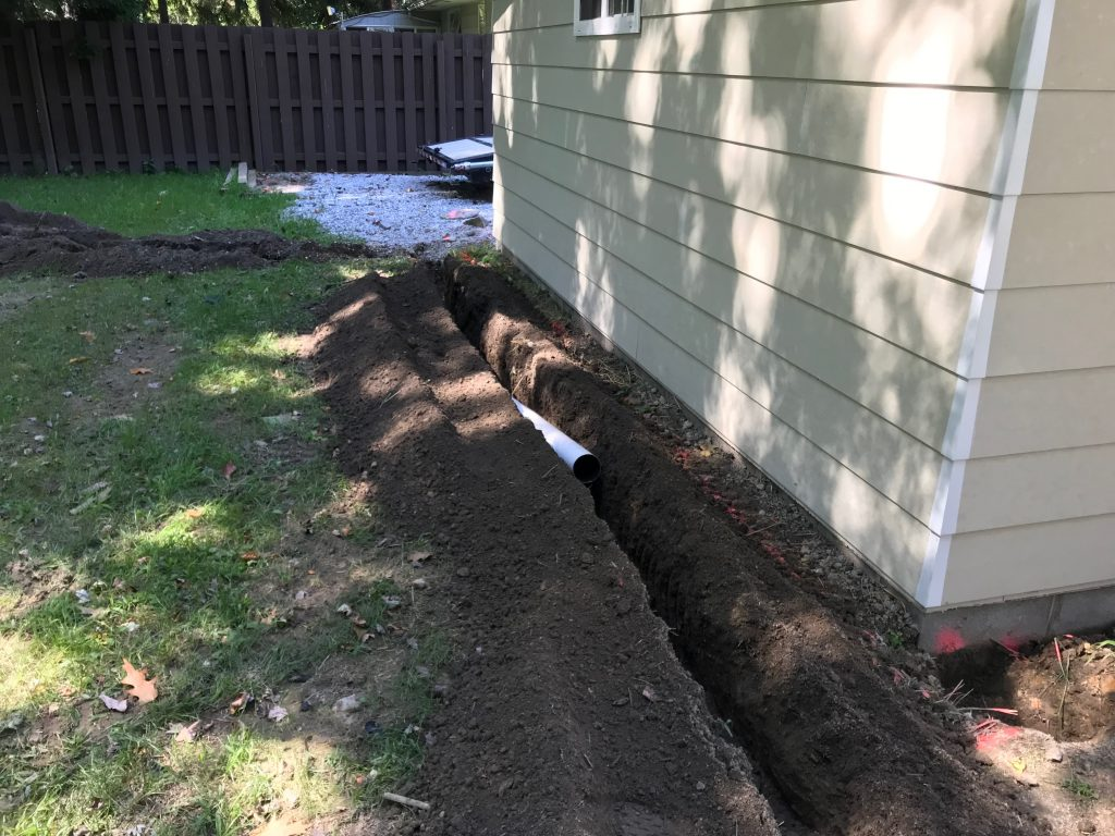 Downspout drain trench