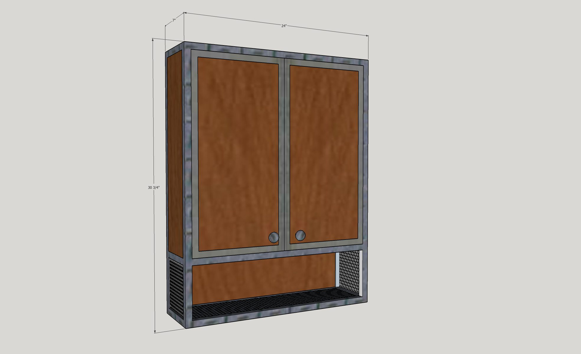 3D drawing of bathroom cabinet
